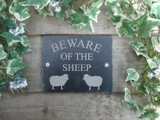 Beware Of The Sheep Natural Slate Gate Wall Door Paque Sign 14cm x 11cm