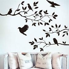 Wall Stickers Wall Decal Removable Art Black Bird Tree Branch Home Mural Decor J