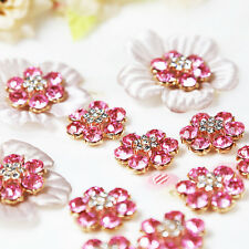 Wholesale 20x PINK Rhinestone Button Bouquet Applique Craft Wedding Accessories