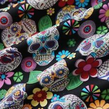 Black 100% Cotton Poplin Fabric with Sugar Skulls Mexican Halloween (Per Metre)