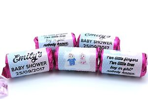 x35 Personalised Baby Shower Love Hearts Party Favours Boy or Girl Keepsake #B4