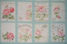 coupon de 8 vignettes de tissu patchwork shabby Mary Rose ton turquoise