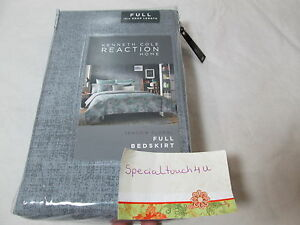 """New Kenneth Cole Reaction Home SHADOW FLORAL Full Bedskirt  - 15"""" Drop - Grey"""