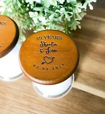 Mini Personalised Engraved Wooden Lid 25 or 40 or 50 Anniversary Favours Candles