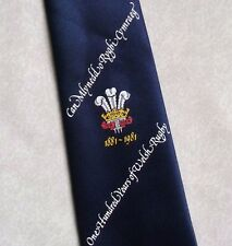 ONE HUNDRED YEARS OF WELSH RUGBY TIE VINTAGE RETRO 1881-1981 1980s WALES NAVY