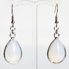 Semi-Precious Silver Teardrop Stone Earrings - White Opalite