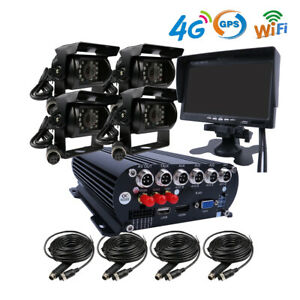 "DIY WIFI GPS 4G 1080P AHD 2TB HDD Car DVR MDVR Video Record Remote Monitor 7""LCD"