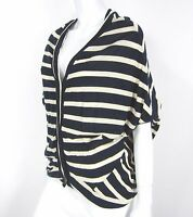 BCBG MAX AZRIA SHORT SLEEVE CARDIGAN SWEATER SIZE XS/S BLUE CREAM STRIPED