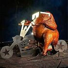 Stainless Steel Roster Chicken Stand With Beer Can Holder Motorcycle Grill BBQ R