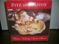 FITZ AND FLOYD WINTER HOLIDAY SANTA SERVER HAND PAINTED 12 1/2 '' WIDE