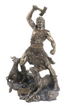 Bronze Finish THOR NORSE GOD OF THUNDER Statue Figurine hammer