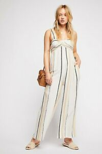 Free People Breezin' Through Striped One-Piece in Beige, New | 21474 | Size XS