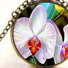 New Phalaenopsis Moth Orchid Stripe Flower, Pendant Necklace, Garden Lovers Gift