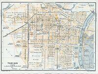 Torino + Soperga 1899 picc. piantina città orig. Vedetta Alpina San Donato