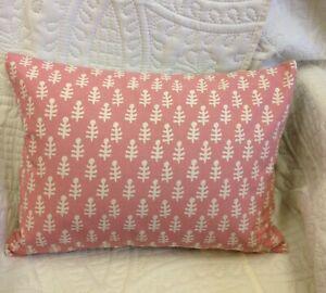 "Molly Mahon Bagru Fabric Cushion Cover - Pink  -  Lumbar -   16"" x 12"""