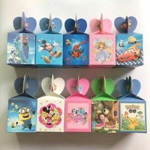 6Pcs Candy Box Birthday Party Favor Goody Bag Filler Peppa Sonic Disney etc