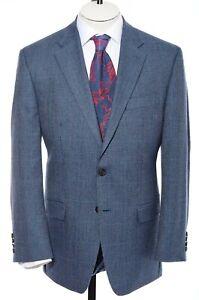 40R Lauren Ralph Lauren Blue Glen Plaid Two-Button Sport Coat Blazer Jacket M