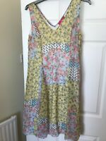 Together dress plus size 16 V neck front back lined yellow mix print second