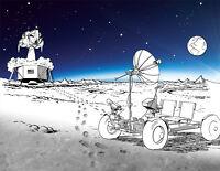 NASA 1971 Apollo 11 Moon Mission Landing Lunar Liftoff Concept Art Print Poster