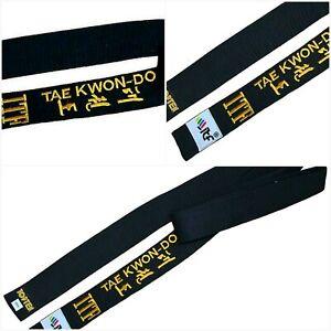 Gold Embroidered ITF Taekwon-do BLACK BELT 2 Inch SIZE 0 1 2 3 180-240cm COTTON