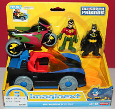 Fisher Price Imaginext Batmobile W/Batman & Robin With Cycle Figures Mib