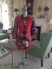 ANTHROPOLOGIE Plenty Tracy Reese 100% Silk Tunic Top Shirt Red Black Sz 6