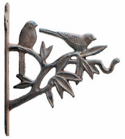 "Birds In Tree Decorative Plant Hanger Cast Iron Flower Basket Hook 7.625"" Deep"