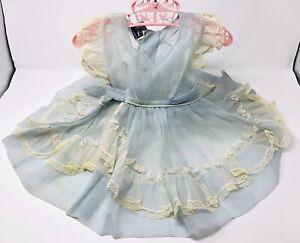 VTG Baby Girl Toddler Dress Blue Ruffles Sheer Nylon Party Pageant 2T FLAWS