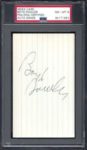 BOYD DOWLER, GREEN BAY PACKERS SUPERBOWL I&II CHAMPS, SIGNED INDEX CARD
