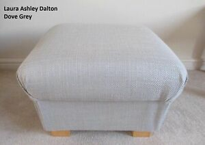 Laura Ashley Dalton Dove Grey Fabric Footstool Pouffe Footstall Plain Accent New