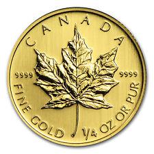1/4 oz Gold Canadian Maple Leaf Coin - Random Year Coin - SKU #11