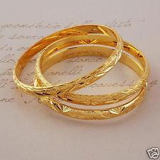 3pcs/lot Hand Engraved 24k Gold Filled Bangle Dia60mm Womens Bracelet