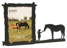 Girl feeding a horse 3x5V black metal picture frame