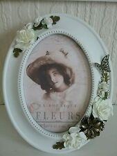 Hand decorated cadre photo, style français, vintage, fleurs papillons, décoration cadre