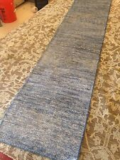 Spectacular Hand Knotted Runner Rug blue Soumac Solid Flat Woven Hallway 2'x 10'