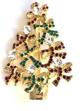 🔥 Eisenberg Ice Signed Christmas Tree Brooch Vintage Rhinestone Bows