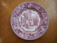 "Wedgwood Courtship of Miles Standish Longfellow Series 9"" mulberry plate ca 1950"
