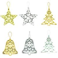 AU_ KE_ 3Pcs Christmas Star Tree Bell Hanging Ornament Xmas Tree Showcase Home D