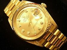 Mens Rolex Solid 18k Yellow Gold Day Date President Watch Champagne Diamond 1803