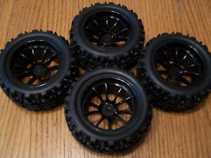 (4) Redcat Racing Volcano EPX Pro Tires & Black 10 Spoke 12mm Wheels 2.8 Rim S30