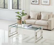 Modern Rectangle Glass Top Steel Frame  Designer Coffee Table Lounge Living Room