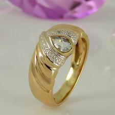 Ring 585 Gelbgold 14K 1 Blautopas Edelstein ca 0,50 ct und 4 Diamanten Gr. 57