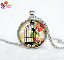 Bird cage necklace Photo Tibet silver  Cabochon glass pendant chain Necklace