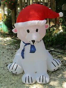 Gemmy Inflatable Christmas Yard Decor 4' Polar Bear w/ Santa Hat & Scarf