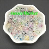 50 x loose clear spacer beads glitter bracelet necklace jewellery making 8mm new