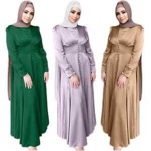 Ramadan Satin Abaya Muslim Women Maxi Dress Kaftan Jilbab Dubai Arab Islamic New