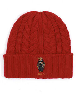 NWT Men's Polo Ralph Lauren Cable-Knit Bear Logo Beanie Hat MSRP $55