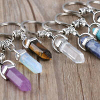 Nice Amethyst Crystal Point Keychain Key Ring Gift Stone