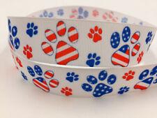 5 Yard 1'' 25Mm Puppy footprints Printed Grosgrain Ribbon Hair Bow Sewing Ribbon