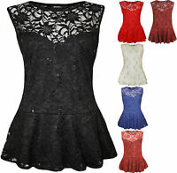 New Plus Size Womens Lace Sequin Ladies Sleeveless Peplum Frill Vest Top 16-26